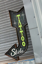 "3ft ""Green Tattoo Shop""Custom Exit Arrow Vintage Sign Plaque Bar Shop Retail"