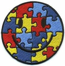 Autism Awareness Smiley Puzzle Piece Embroidered Iron On Patch-NEW-FREE SHIPPING