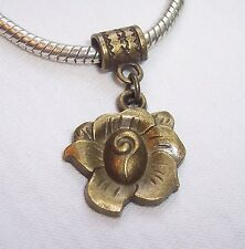Bronze Tone Flower Rose Garden Dangle Bead for European Style Charm Bracelets