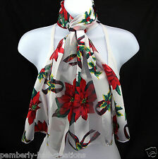 Poinsettia Womens Christmas Scarf Xmas Holiday Fashion White Gift Scarves New