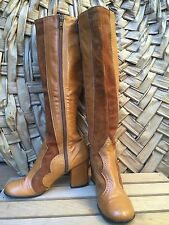 Vintage Women's Leather Retro Boots Go-go Style  Made In Spain Size 5B - AS IS