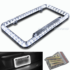 54 White LED Lighting Acrylic Plastic License Plate Cover Frame Universal 1