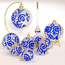 Russian Christmas Tree Ornaments 9 piece Gzhel Handmade NEW
