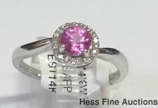 14k White Gold Diamond Natural Pink Sapphire Halo Ladies Ring Brand New w Tag