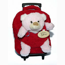 """14"""" Backpack Rolling Trolley + Travel Plush Buddy Toy w Zippered Pocket Red"""