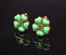Auth CHANEL Green Enamel Goldtone Camellia Flower CC Logo ClipOn Earrings #21662