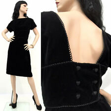 SALE Vintage 50s Pin Up Rockabilly Dress Black Velvet HEART BUTTONS Open Back M