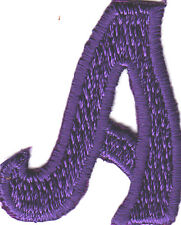 """LETTERS  - Purple  Script  2"""" Letter """"A"""" - Iron On Embroidered Applique"""