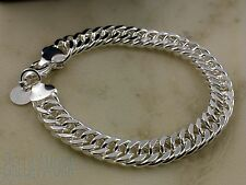 "925 Stamped Polished Silver Chunky Mens Ladies Chain Link Bracelet 8""  UK  -73"