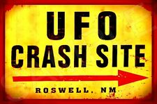 *UFO CRASH SITE ROSWELL* MADE IN USA!  METAL SIGN 8X12 MAN CAVE BAR POKER ROOM