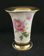 Lovely Antique Meissen Flare Trumpet Vase Hand Painted Flowers Heavy Gold 6.5""