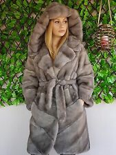 REAL MINK FUR COAT GREY SILVER HOOD SAGA MEXA NERZMANTEL FOX SABLE CHINCHILLA