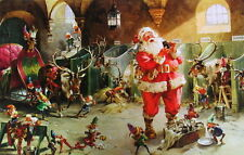 "vintage "" Santa,and Elves in Reindeer Stables Barn Christmas"