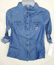 GUESS 100% Cotton Dark Stone Roll Sleeve Denim Shirt GIRL SIZE 7/8 NWT