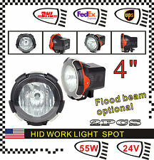 Pair 4inch XENON 55W 24V HID Work Light 6000k Spot Beam ATV 4 x 4 Offroad UTE
