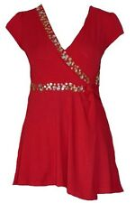 WOMENS Ladies Red Sequin Stretchy Jewel V-Neck Tunic Crossover Casual Top Sz 10