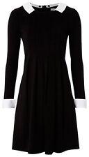 Hobbs Peter Pan collar black shift dress with white collar sz UK8 EU34US4