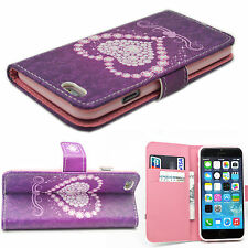 Heart Flip Stand PU Leather Card Wallet Slots Cover Case For Apple iPhone 6 4.7""