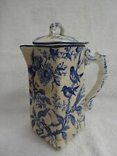 Antique Washington Ridgeware porcelain blue bird theme square shape tea pot