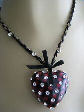 BETSEY JOHNSON SCHOOL GIRL RED PLAID LUCITE CRYSTAL HEART PENDANT NECKLACE RARE
