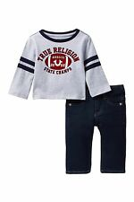 NEW TRUE RELIGION BABY BOYS OUTFIT GIFT SET JEANS LONG SLEEVES TEE T-SHIRT 9M