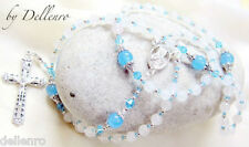 ✫WHITE AND BLUE JADE✫ HANDCRAFTED GEMSTONE ROSARY 6mm