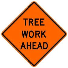 "BONE SAFETY TREE WORK AHEAD (48"") Roll-Up Sign with Ribs..FLUORESCENT VINYL"