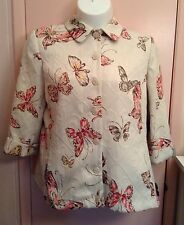 ALFRED DUNNER White Multi-Color Butterfly Tapestry Button Down Jacket Size 16 LN