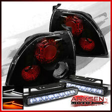 Fits w/Amber LED Bumper Fog Lamp+94-95 Accord 2/4 Door BLK Tail Lights Pair