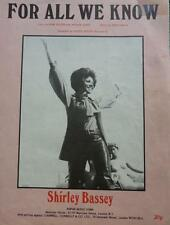 Vintage FOR ALL WE KNOW words MUSIC SHEET SHIRLEY BASSEY 1971