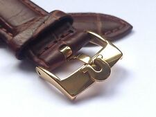 18MM OMEGA GENUINE LEATHER WATCH STRAP BROWN GOLD PLATED BUCKLE.(WS-S6)