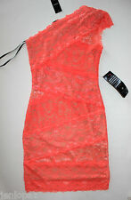 NWT Bebe coral pink lace dress one shoulder nude overlay mixed vegas top XXS 0