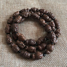 Chinese Hand-carved Kwan-yin Agilawood Wood Prayer Beads Necklace Bracelet 015
