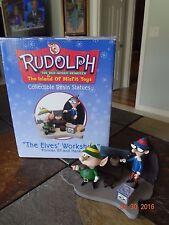 2001 Rudolph Red Nosed Reindeer Elves Workshop Figurine~Foreman Elf & Hank~MIB!