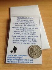 Walk With Me Daddy - Laminated Wallet Card  & Envelope - Real Sixpence  - Card