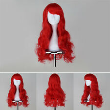 Hot Long Curly Wavy Women Mermaid Princess Ariel Cosplay Costume Red Hair Wig
