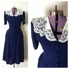 1930s costume 30s 1930s dress 30s dress small Xs medium vintage navy blue lace