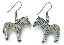 JE036 - Zebra Earrings - Surgical Steel Porcelain Dangle - little Critterz