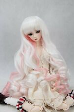 "BJD Doll Hair Wig 7-8"" 1/4 SD DZ DOD LUTS Pure white Peach Mixed Long Curly"