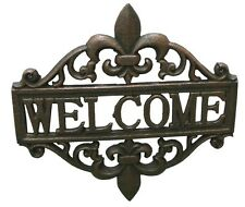 "Fleur De Lis Welcome Sign Wall Plaque Cast Iron 12"" wide French Country"