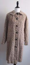 VINTAGE 1950's-1960's Brown & Ivory Boucle Tweed Winter Coat Sz M/L