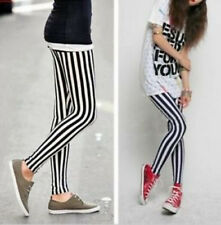 Women Sexy Black + White Vertical Stripe Zebra Leggings Skinny Pants Trousers