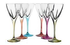 Multicolor Cut Crystal Wine Water Goblets Glasses 5.5 oz Set of 6 Made In Italy