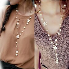 Women's Fashion Pearl Flower Sweater Chain Long Pendant Necklace Charm Jewelry F