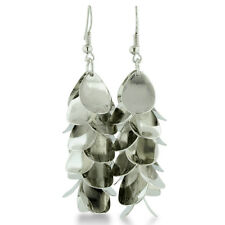 Women's Silver Tone Lightweight Floral Shell Design Disc Dangle Earrings