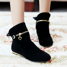 Womens Lady Winter Flat Heel Tassel Ankle Boots Faux Suede Shoes Plus Size 4-11