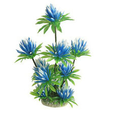 "Plastic Water Lily Plant Decor Sky Blue Green 10"" For Aquarium Fish Tank New"