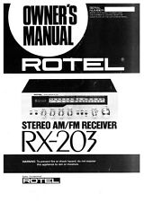 Rotel RX-203 Receiver Owners Instruction Manual
