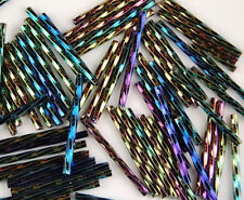 100pcs Czech Twisted Green Iris Aurora Borealis Finish Bugle Glass Beads 30mm