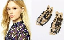 New Occident Fashion Golden And Black Tassels Chain Dangle Owl Earring Stud